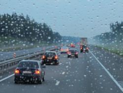 expressway in rainy twilight