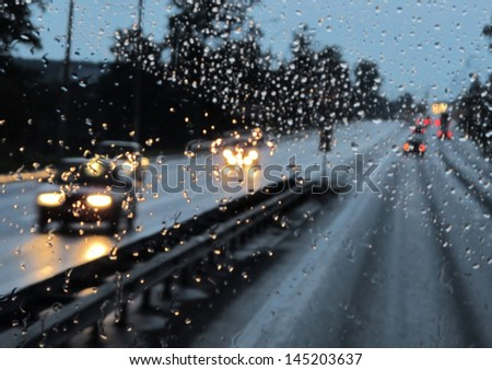 expressway in rainy twilight #145203637