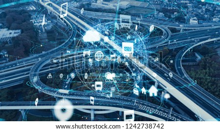 Expressway junction and communication network concept. #1242738742
