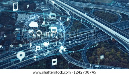 Expressway junction and communication network concept.