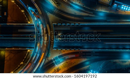 Expressway road and roundabout top view, Road traffic an important infrastructure in Thailand ストックフォト ©