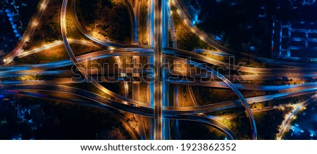 Expressway top view, Road traffic an important infrastructure in Thailand. Road and Roundabout, multilevel junction motorway Stock photo ©