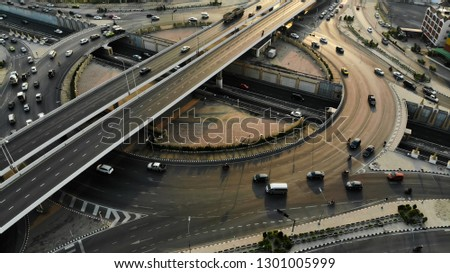 Expressway top view, Road traffic an important transport #1301005999