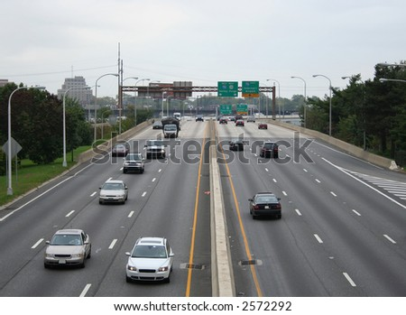 Expressway with vehicles near Philadelphia pennsylvania USA
