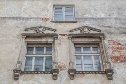 Exquisite antique windows in an abandoned castle