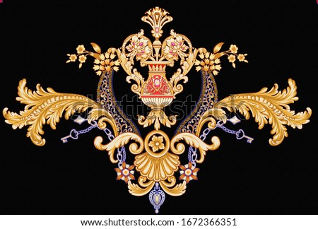 Exquisite baroque design, rococo design, suitable for textile clothing and wallpaper design