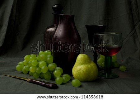 exquisite cover with carafe, glass and grapes