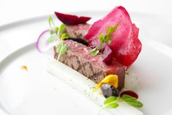 Exquisite dish, creative restaurant meal concept, haute couture food