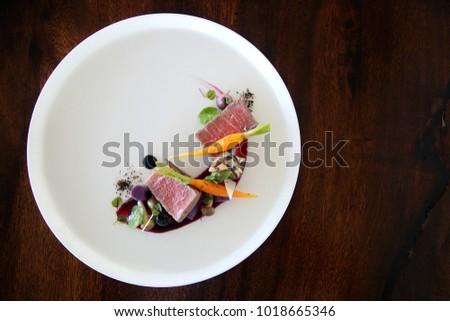 Exquisite dish, creative restaurant meal concept, haute couture food  #1018665346