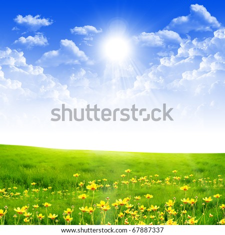 Exquisite landscape with blue skies, sunshine and green grass