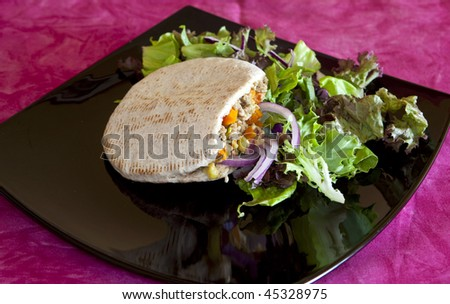 exquisite pita bread with chicken and salad