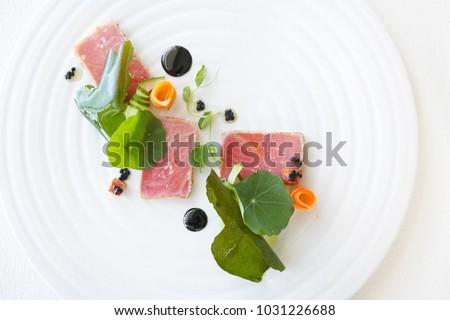 Exquisite salmon dish, creative restaurant meal concept, haute couture food #1031226688