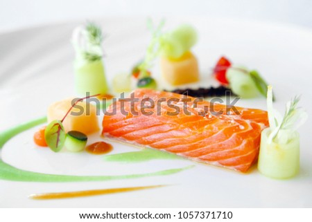 Exquisite salmon dish, creative restaurant meal concept, haute couture food #1057371710