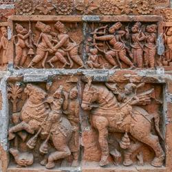 Exquisite terracotta carving scenes of Ramayana and horses at Kantaji aka Kantajew medieval hindu temple in Kantanagar, Dinajpur district, Bangladesh