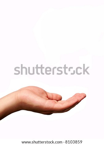 Extended hand for alms on a white background