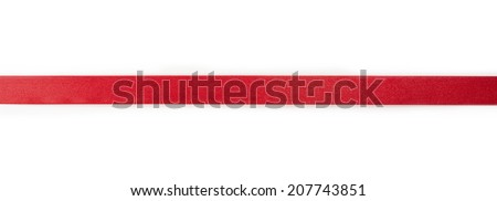 Extending simple red ribbon, isolated on white.  #207743851