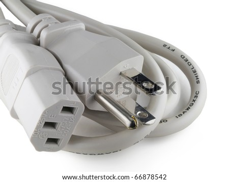 Extension cord with three-pronged, grounded plug on white background, with industry-standard printing required by regulatory agency