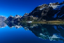 Extensive mountain reflections, with beautiful blue icebergs in the dark waters of rugged South Skjoldungen Fjord, glorious weather, remote South East Greenland