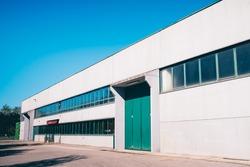 Exterior an industrial warehouse