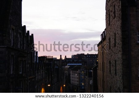 Exterior architecture and building design of 'Blackfriar's Street Royal Mile' ,originally known as the Preaching Friar's Vennel and Blackfriars Wynd -Edinburgh,Scotland