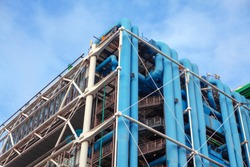 Exterior communications and ventilation pipes of modern building