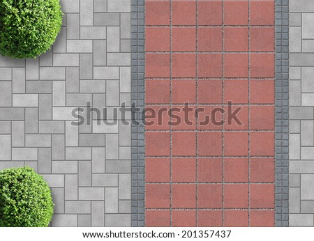 exterior detail in aerial view with permeable pavement