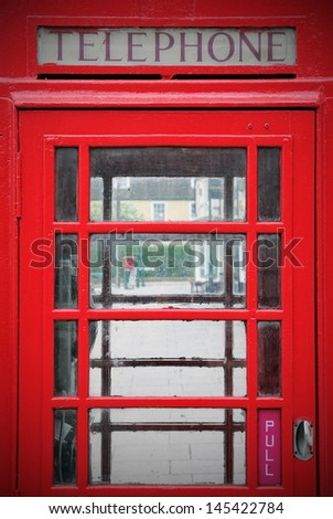 Exterior Detail of an Old British Red Telephone Box