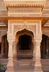 Exterior detail of ancient Amar Sagar Jain Temple near Jaisalmer, Rajasthan, India. 12th century.