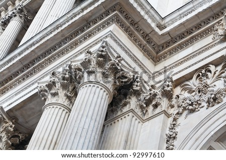Exterior details of St.Paul's Cathedral, London, UK #92997610