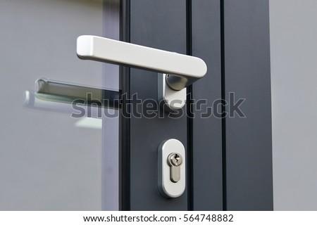 Exterior door handle and Security lock on Metal frame
