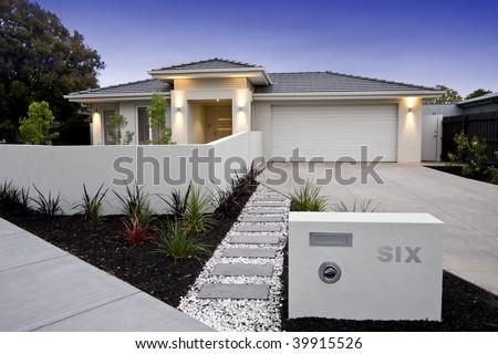 Exterior facade of a contemporary Australian home.