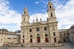 Exterior facade of the Cathedral of Lugo in Galicia Spain