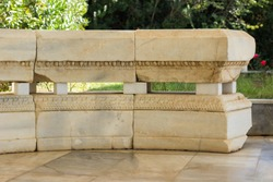 exterior garden decoration object marble bench antique architecture example from ancient Greece time