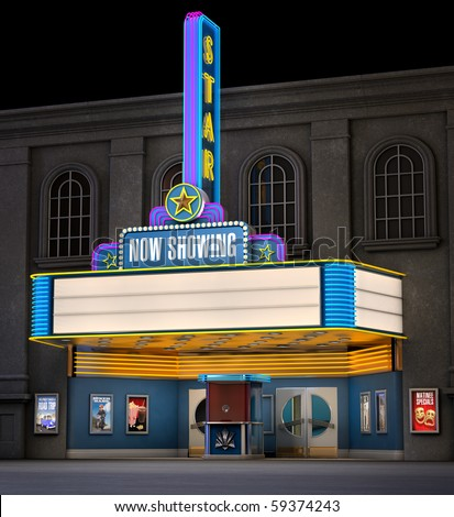 Exterior night shot of a retro illuminated neon movie theater