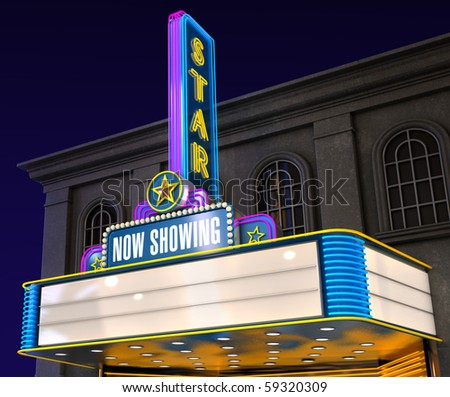 Exterior night shot of a retro illuminated neon movie theatre