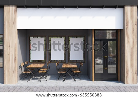 exterior of a cafe with gray...