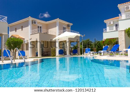 Exterior of a luxurious villa at Greek  resort