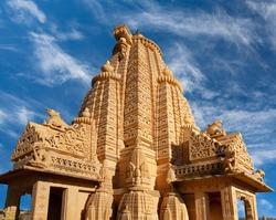 Exterior of ancient Amar Sagar Jain Temple near Jaisalmer, Rajasthan, India. 12th century.