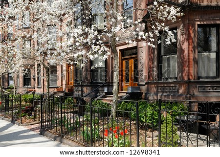 Exterior of Back Bay brownstones in the spring
