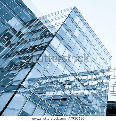 exterior of contemporary glass business center