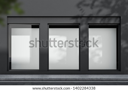 Exterior of gray building with three vertical mock up posters in windows. Concept of advertising and marketing. 3d rendering
