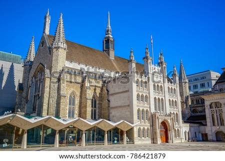Exterior of Guildhall in the City of London, England against a cloudless sky