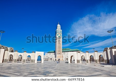 Exterior of Hassan II mosque with blue sky and cloudscape background, Casablanca, Morocco.