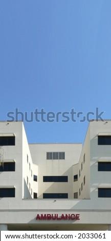Exterior of hospital emergency entrance