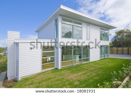 exterior of house in suburb - stock photo