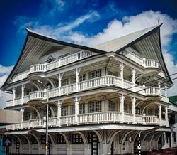 Exterior of house in the historic city of Paramaribo, Suriname. The historic inner city of Paramaribo is a UNESCO World Heritage Site since 2002.
