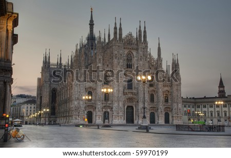 Exterior of Milan cathedral, the dome, duomo, illuminated at night, Lombardy, Italy - stock photo