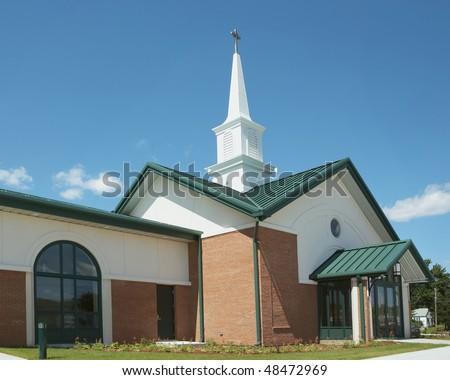 Exterior of modern American church with contemporary architecture