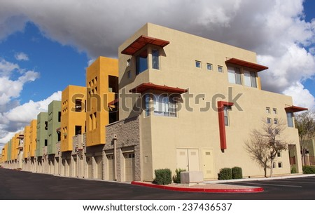 Exterior of modern trendy new colorful apartments