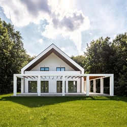 Exterior of modern, white house with new designed veranda with green lawn in backyard and trees